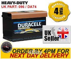 DA74 Duracell Advanced Car Battery 096 -fits Merc Mini Mitsu Nissan Peug Porsche
