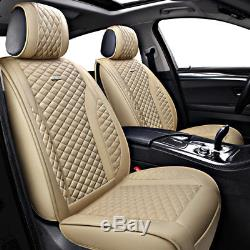Deluxe Breathe PU leather Car Seat Cover Full Front+Rear Cushion 5-Seat WithPillow