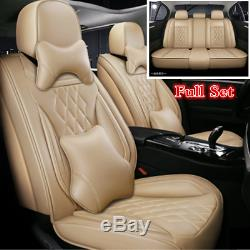 Deluxe Edition Beige PU Leather Car Seat Cover 5D Surround Full Set Seat Cushion