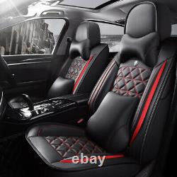 Deluxe Edition Car Seat Covers 5-Sit Full Surround Cushions Red/Black PU Leather