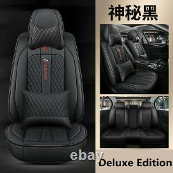 Deluxe Edition Full Car Seat Cover +Pillows Set PU Leather Interior Accessories