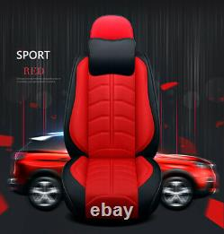 Deluxe Edition Red PU Leather Full Surround Set Car Seat Cover Seat Cushion Pad