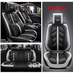 Deluxe Full 5 Seats Leather Cushion Car Seat Cover Set withHeadrest & Waist Pillow