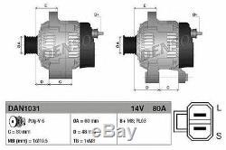 Denso 80 A 14 V Alternator DAN1031 Replaces 23100-BU015