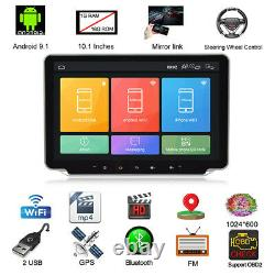 Double 2DIN Rotatable 10.1'' Android 9.1 Car Stereo Radio GPS Wifi With Camera Kit