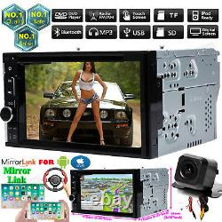Double 2Din Car Stereo+Backup Camera Audio MP5 MirrorLink-GPS For Andriod IOS+Ca