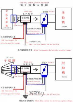 Electric Turbo Supercharger Kit Turbocharger Air Filter Intake for 12V Car Bike