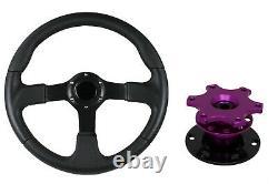 F2 BLACK Steering Wheel + Purple Quick Release boss TP for NISSAN