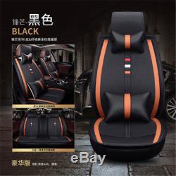 Fashion Luxury Black Orange Linen+PU Full Set Seat Cover 5 Seats car-styling