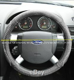 Faux Leather Look Grey Steering Wheel Cover Fits Nissan