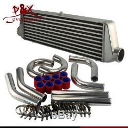 Front Mount Intercooler 550x180x64mm + 2.5 Aluminum Piping Hose Clamps Kit DIY