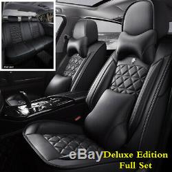 Full Set Luxury PU Leather 6D Car Seat Cover Cushion withHeadrest Waist Pillows