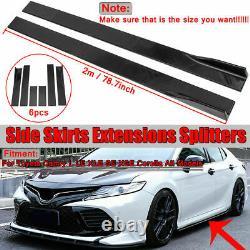 Glossy Black Car Front Bumper Lip Spoiler + 78.7 Side Skirt Splitter Universal