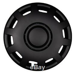 Hubcaps Granite 15 Inch #75 IN Black Matte 4x Premium Design Hub Caps