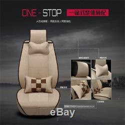 Linen Material Lattice Car Full Front+Rear Seat Cover Cushions Pad Car-styling