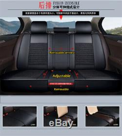 Luxury PU Leather Car Seat Cover Cushion Pad 6D Surround Headrests Waist Pillows
