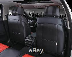 Luxury Red Black PU Leather Full set Seat Covers For Nissan Navara Qashqai Juke