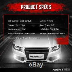 NIGHTEYE 1 Pair H1 160W LED Fog Light Bulbs Auto Driving Lamp DRL 6500K White UK