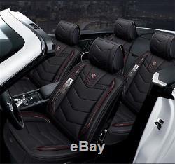 New Luxury Microfiber Leather Seat Covers Cushion Black Red Car Cushion Full Set