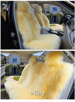 Pink Australian sheepskin Front Rear Full Set Car Seat Covers warm winter