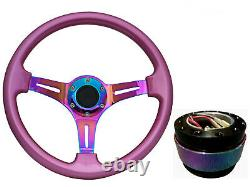 Pink Neo Chrome TS Steering Wheel + Black Quick Release boss BN for NISSAN