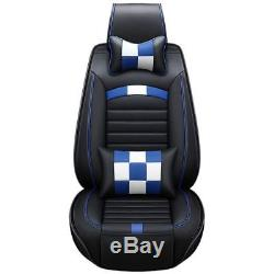 Plaid Black+blue PU Leather Seat Cover 5-Seats Cushion WithNeck Lumbar Pillows