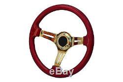 Red Gold TS Steering Wheel + Boss Kit for NISSAN 003