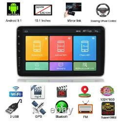 Rotatable 10.1in 1Din Android 9.1 Car Stereo Radio BT FM MP5 Sat Nav GPS + Cam