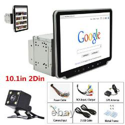 Rotatable 10.1in 2Din Android 9.1 Car MP5 Player Bluetooth GPS WiFi FM +4LED Cam