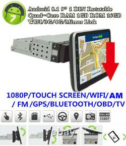 Single Din 9in Android8.1 Car Stereo Radio WIFI Bluetooth MP5 Player GPS Sat Nav