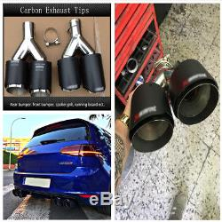 Stainless Steel Carbon Fiber Car Exhaust Dual Pipe Tip for Rear Bumper Diffuser