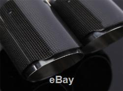 Stainless Steel Genuine Carbon Fiber Car SUV Right Dual Pipe Exhaust Tip Gloss