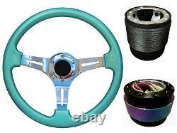 Steering Wheel Boss Kit TS Green Chrome + Neo Quick Release BN for NISSAN 023
