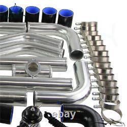 Universal 2.25 550x230x65mm Intercooler +Aluminum Pipe Hose Kit+BOV Kit Black