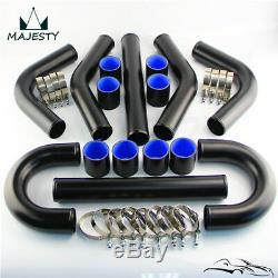 Universal 2.5 63mm Intercooler + Aluminum Pipe Piping Hose T-clamps DIY Kit