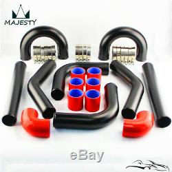 Universal 2.75 8Pcs Turbo Intercooler Pipe Piping T-Clamp Silicone Hose Kit