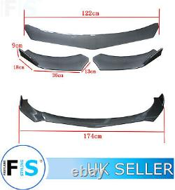 Universal 3 Pcs Front Splitter Front Lip Spoiler Carbon Fibre Easy Rotate-nsn1