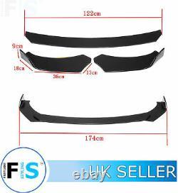 Universal 3 Pcs Front Splitter Front Lip Spoiler Gloss Black Round Rotate-nsn1