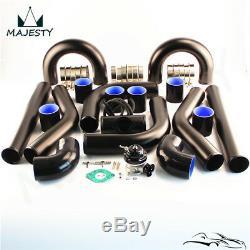 Universal Alloy Intercooler Piping Hose 2.36 60mm + Turbo Flange Pipe BOV Kit