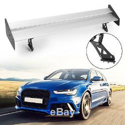 Universal Aluminum Adjustable Double Deck GT Rear Trunk Wing Spoiler Silver ART