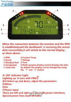 Universal Dash Race Display OBD2 Bluetooth Dashboard LCD Digital Gauge UK&