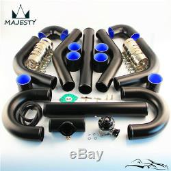 Universal Intercooler Piping Hose 3 76mm + Turbo Flange Pipe BOV Kit Black
