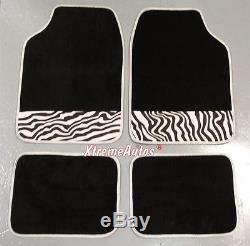 Universal Non-slip Full Carpet Animal Zebra Strip Car Mats 4 PCE For All Models