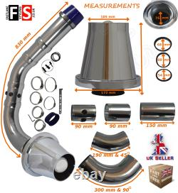 Universal Performance Cold Air Feed Pipe Air Filter Kit Chrome 2103ch-nsn1