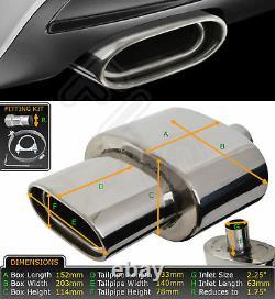 Universal Performance Free Flow Stainless Steel Exhaust Backbox 118093-6 Nsn2
