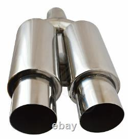 Universal Performance Free Flow Stainless Twin Exhaust Backbox Ld16-nsn2