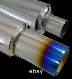 Universal Performance Stainless Steel Exhaust Burnt Tip Back Box 142150-nsn1