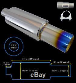 Universal Performance Stainless Steel Exhaust Burnt Tip Backbox 142150 Nsn2