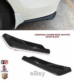 Universal Rear Bumper Lip Extension Rocker Splitter Gloss Black-nsn1