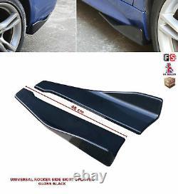 Universal Side Skirt Extension Blades Rocker Splitter 48cm Gloss Black-nsn1